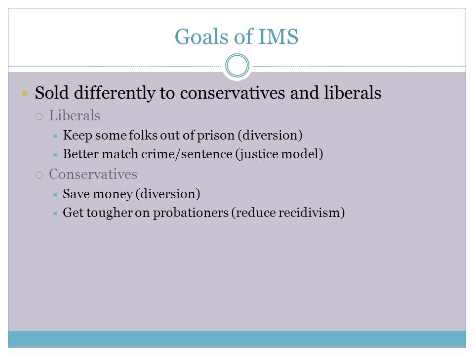 Goals of IMS Sold differently to conservatives and liberals  Liberals  Keep some folks out of prison (diversion)  Better match crime/sentence (justice model)  Conservatives  Save money (diversion)  Get tougher on probationers (reduce recidivism)