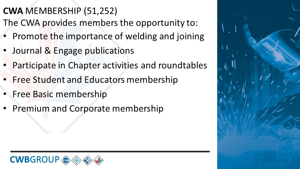 CWBGROUP CWA MEMBERSHIP (51,252) The CWA provides members the opportunity to: Promote the importance of welding and joining Journal & Engage publications Participate in Chapter activities and roundtables Free Student and Educators membership Free Basic membership Premium and Corporate membership