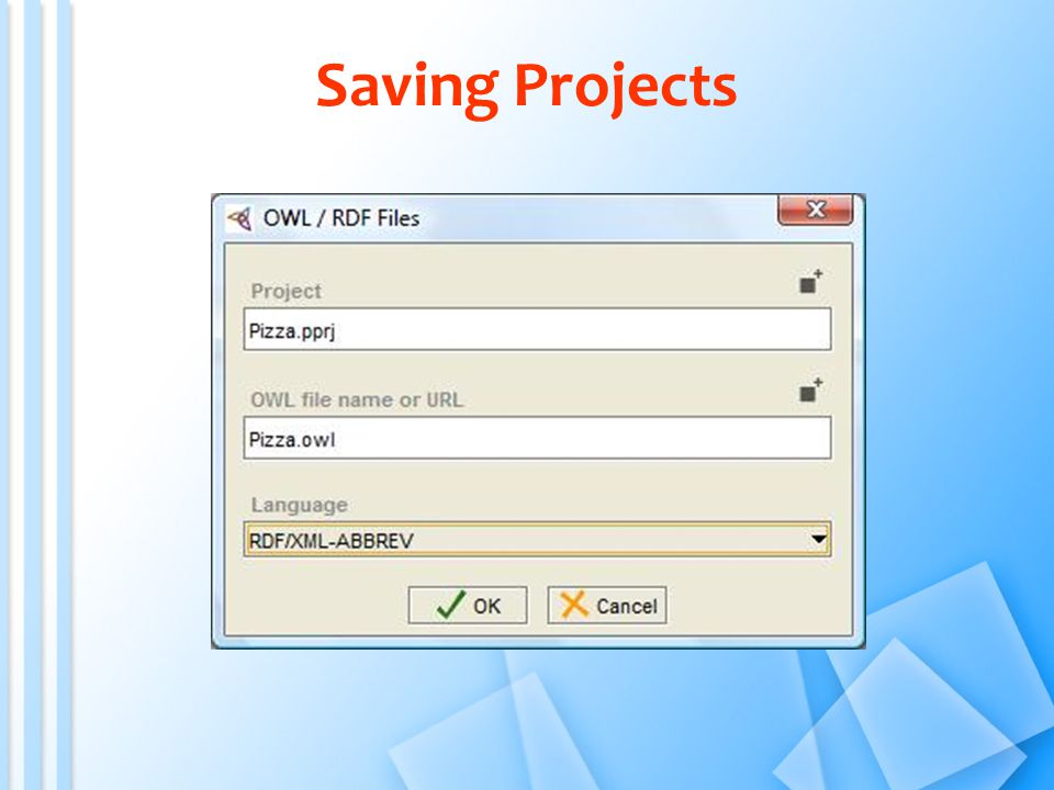 Saving Projects