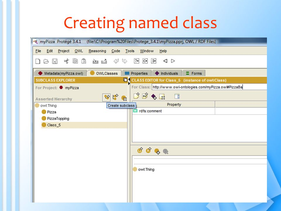 Creating named class