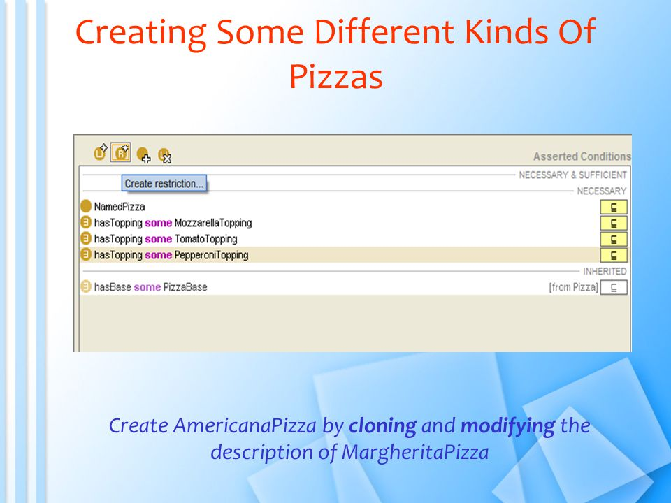 Creating Some Different Kinds Of Pizzas Create AmericanaPizza by cloning and modifying the description of MargheritaPizza