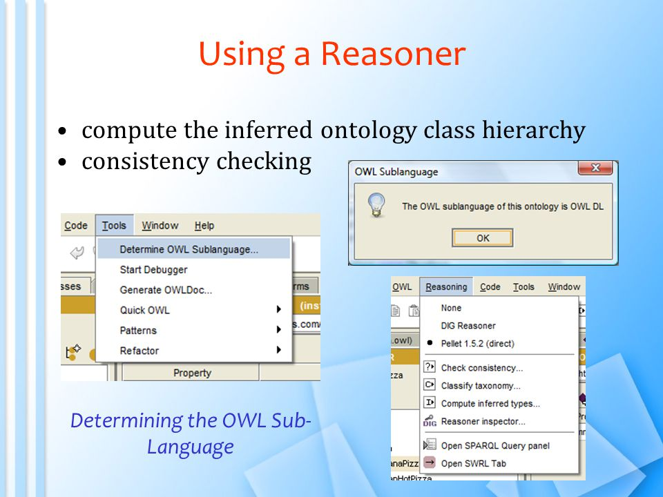 Using a Reasoner compute the inferred ontology class hierarchy consistency checking Determining the OWL Sub- Language
