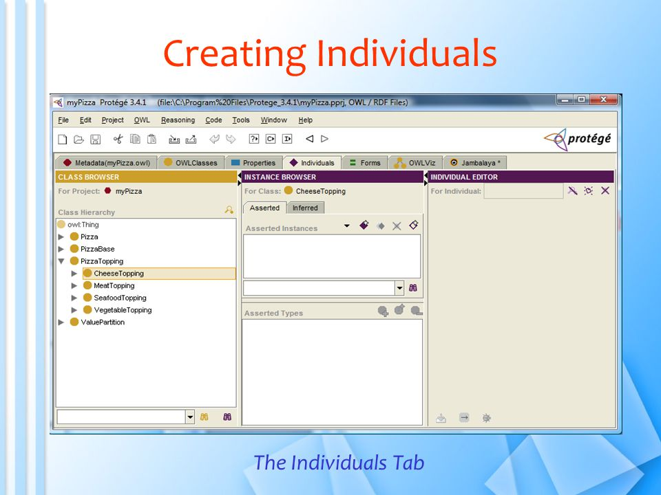 Creating Individuals The Individuals Tab