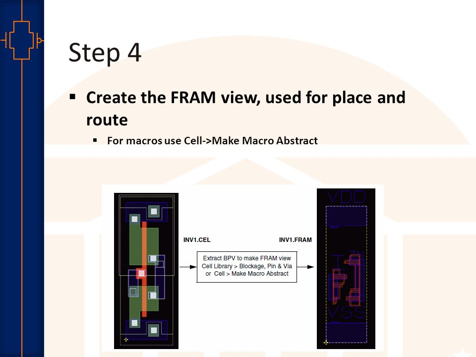 Robust Low Power VLSI Step 4  Create the FRAM view, used for place and route  For macros use Cell->Make Macro Abstract