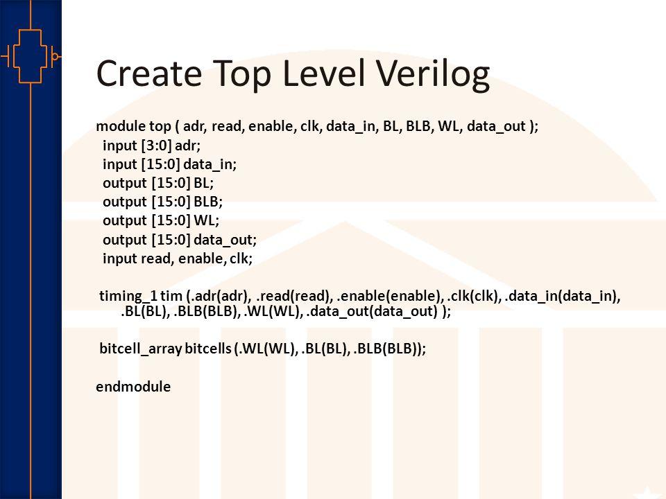 Robust Low Power VLSI Create Top Level Verilog module top ( adr, read, enable, clk, data_in, BL, BLB, WL, data_out ); input [3:0] adr; input [15:0] da