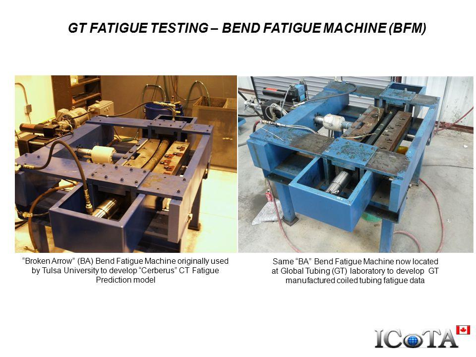 "GT FATIGUE TESTING – BEND FATIGUE MACHINE (BFM) ""Broken Arrow"" (BA) Bend Fatigue Machine originally used by Tulsa University to develop ""Cerberus"" CT"