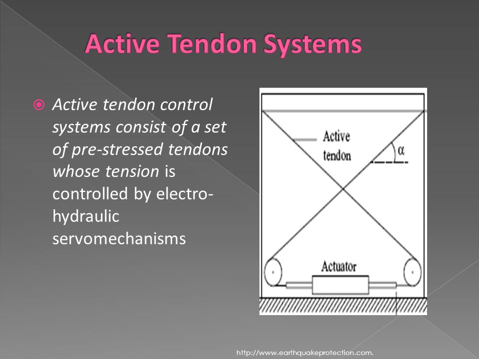  Active tendon control systems consist of a set of pre-stressed tendons whose tension is controlled by electro- hydraulic servomechanisms http://www.earthquakeprotection.com.