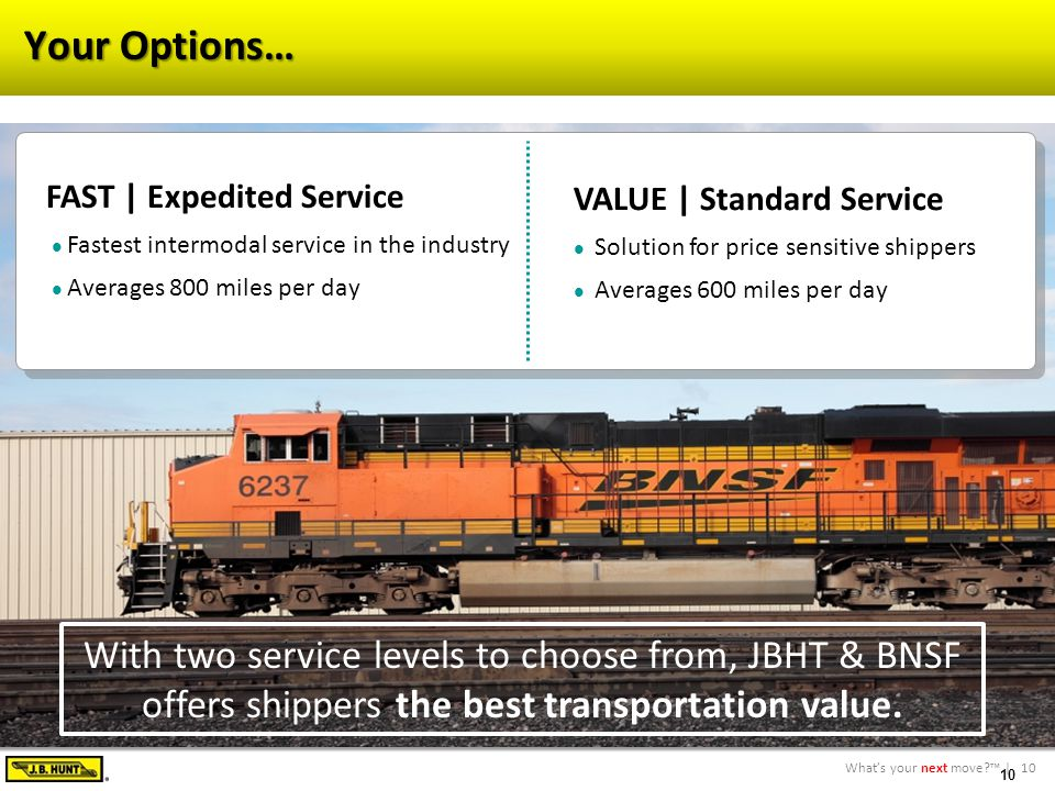10What's your next move?™ | 10 Your Options… VALUE | Standard Service Solution for price sensitive shippers Averages 600 miles per day FAST | Expedited Service Fastest intermodal service in the industry Averages 800 miles per day With two service levels to choose from, JBHT & BNSF offers shippers the best transportation value.