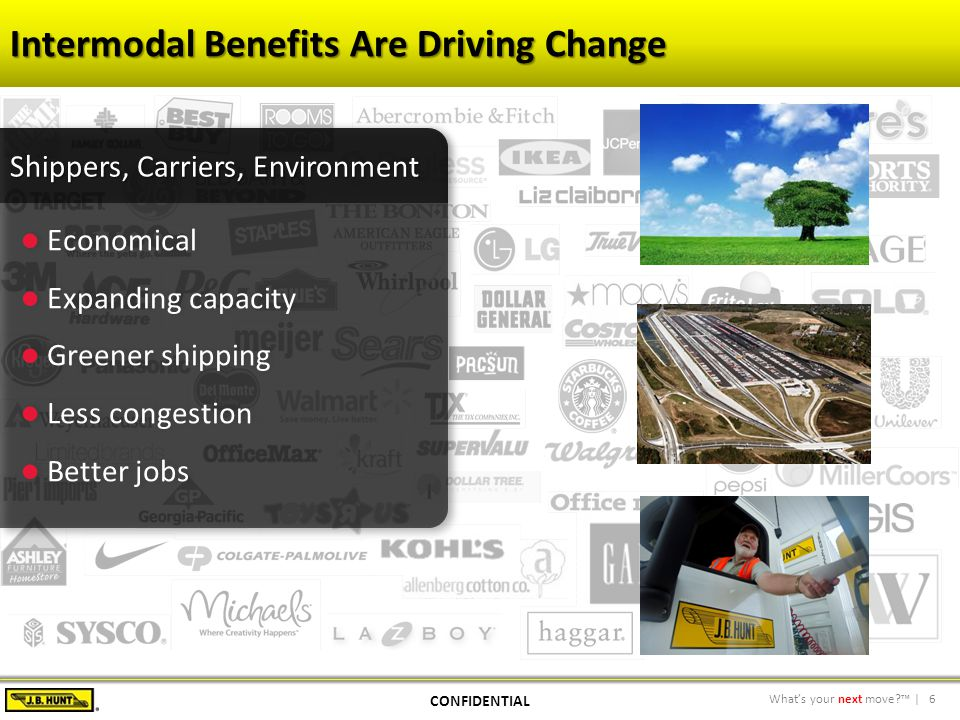 6What's your next move?™ | Intermodal Benefits Are Driving Change CONFIDENTIAL
