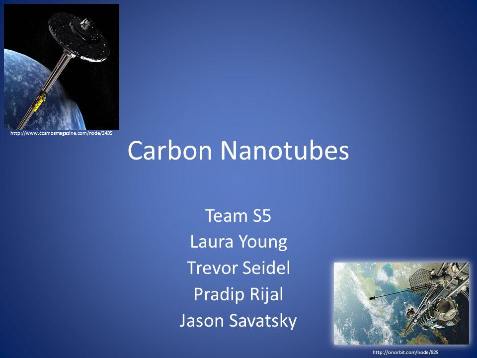 Carbon Nanotubes Team S5 Laura Young Trevor Seidel Pradip Rijal Jason Savatsky http://www.cosmosmagazine.com/node/2435 http://onorbit.com/node/825