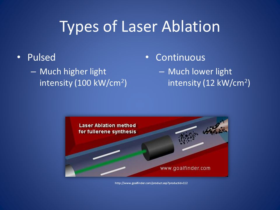 Types of Laser Ablation Pulsed – Much higher light intensity (100 kW/cm 2 ) Continuous – Much lower light intensity (12 kW/cm 2 ) http://www.goalfinder.com/product.asp productid=112