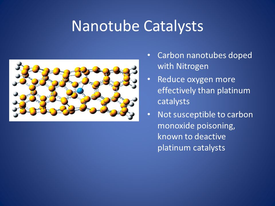 Nanotube Catalysts Carbon nanotubes doped with Nitrogen Reduce oxygen more effectively than platinum catalysts Not susceptible to carbon monoxide pois