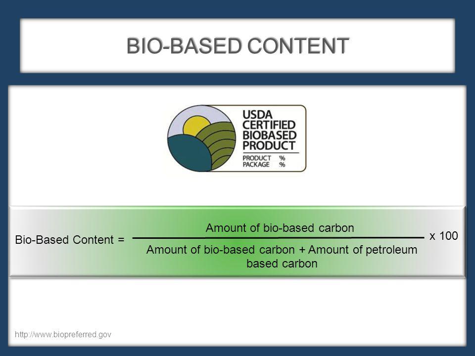 BIO-BASED CONTENT Amount of bio-based carbon Amount of bio-based carbon + Amount of petroleum based carbon Bio-Based Content = x 100 http://www.biopreferred.gov