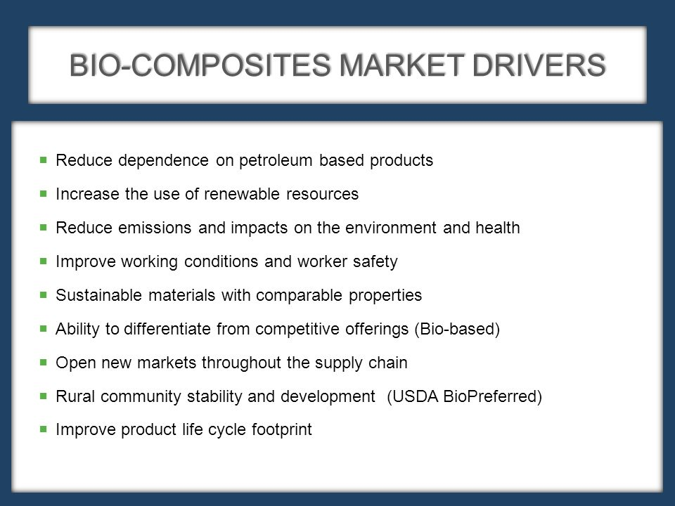  Reduce dependence on petroleum based products  Increase the use of renewable resources  Reduce emissions and impacts on the environment and health  Improve working conditions and worker safety  Sustainable materials with comparable properties  Ability to differentiate from competitive offerings (Bio-based)  Open new markets throughout the supply chain  Rural community stability and development (USDA BioPreferred)  Improve product life cycle footprint BIO-COMPOSITES MARKET DRIVERS