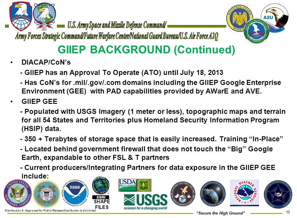 """10 """"Secure the High Ground"""" GIIEP BACKGROUND (Continued) DIACAP/CoN's - GIIEP has an Approval To Operate (ATO) until July 18, 2013 - Has CoN's for.mil"""