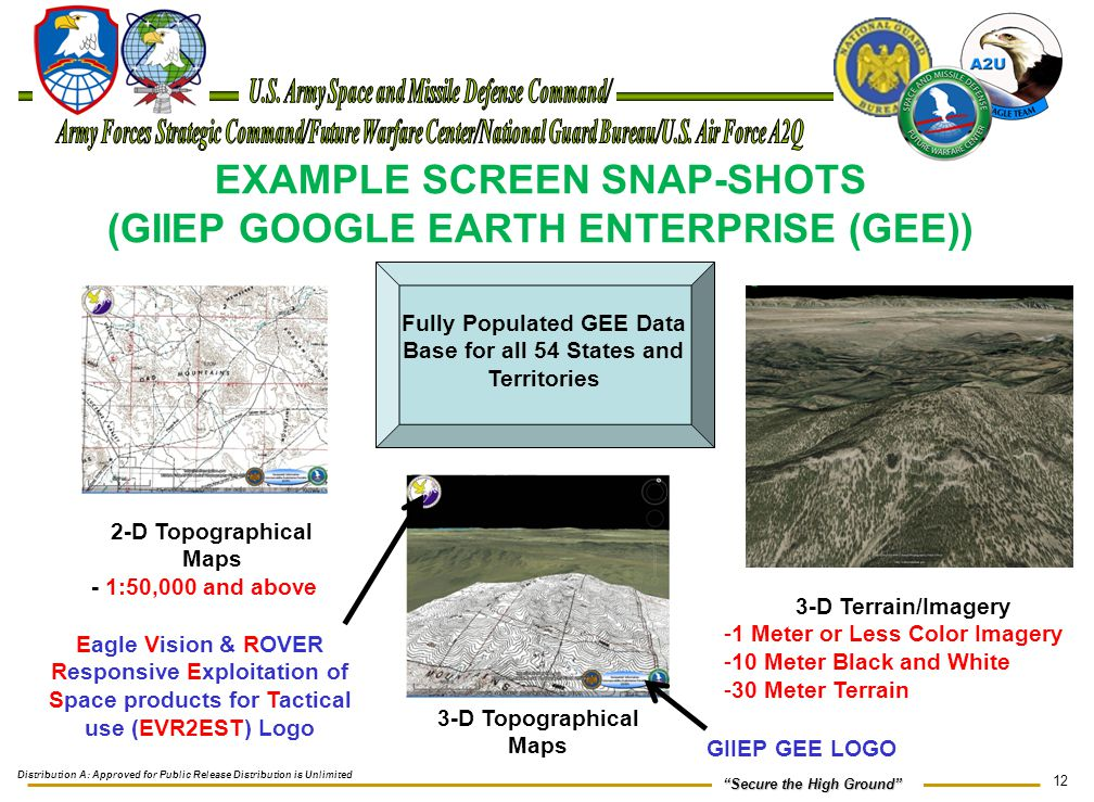 """12 """"Secure the High Ground"""" EXAMPLE SCREEN SNAP-SHOTS (GIIEP GOOGLE EARTH ENTERPRISE (GEE)) 3-D Terrain/Imagery -1 Meter or Less Color Imagery -10 Met"""