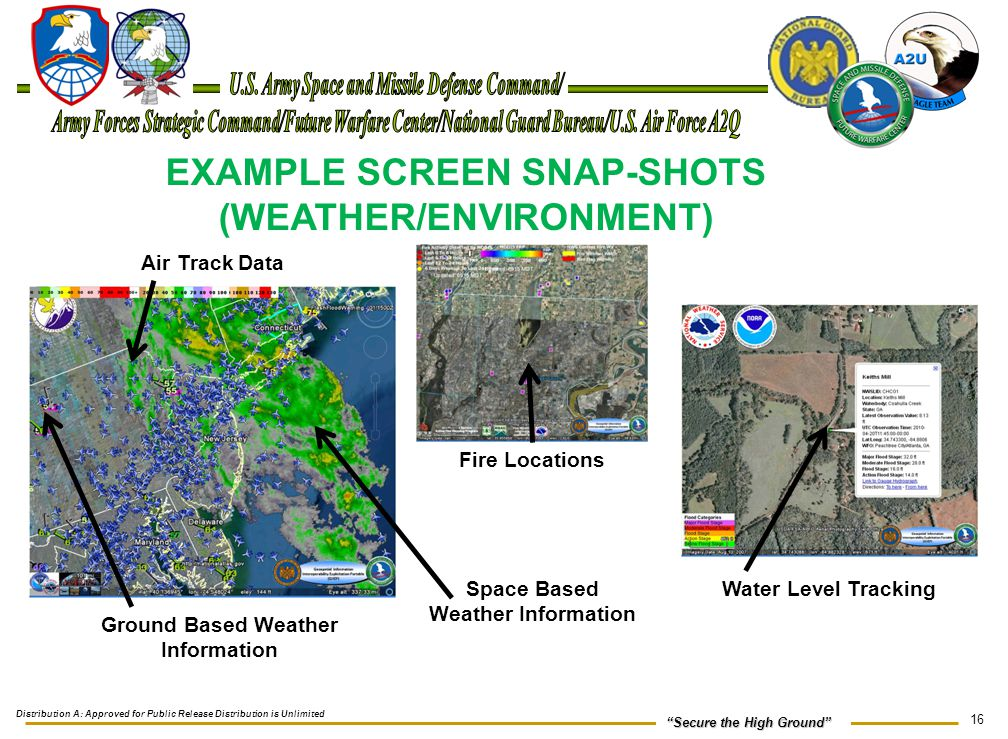 """16 """"Secure the High Ground"""" EXAMPLE SCREEN SNAP-SHOTS (WEATHER/ENVIRONMENT) Fire Locations Water Level Tracking Air Track Data Space Based Weather Inf"""