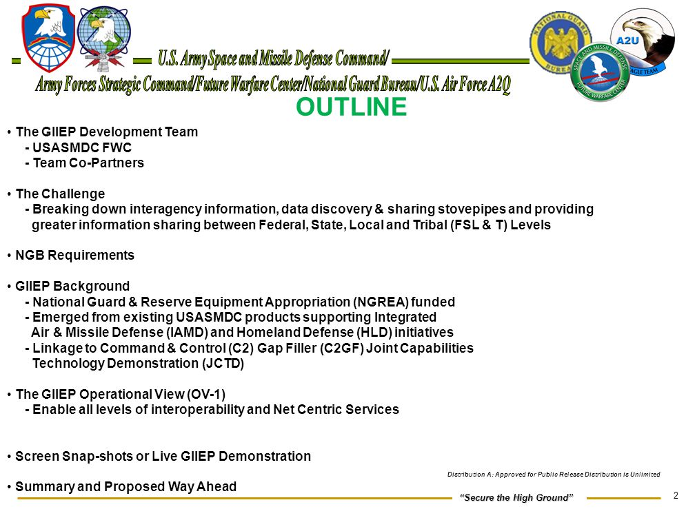"""2 """"Secure the High Ground"""" OUTLINE The GIIEP Development Team - USASMDC FWC - Team Co-Partners The Challenge - Breaking down interagency information,"""