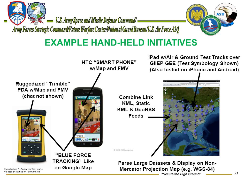 """21 """"Secure the High Ground"""" EXAMPLE HAND-HELD INITIATIVES HTC """"SMART PHONE"""" w/Map and FMV iPad w/Air & Ground Test Tracks over GIIEP GEE (Test Symbolo"""