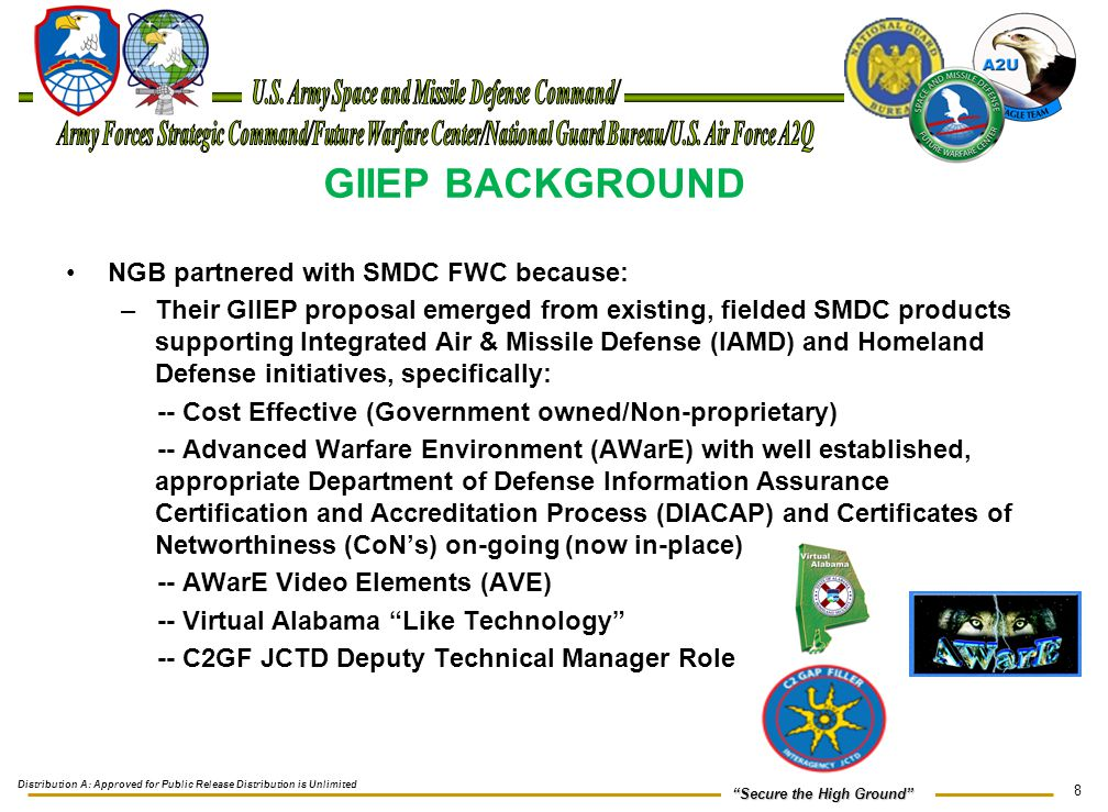 9 Secure the High Ground GIIEP BACKGROUND (Continued) Field a capability that will provide an enterprise that will deliver a discoverable, analytical and collaboration environment that: - Met Full Operational Capability (FOC) on September 20, 2010 - Fielded to all 54 States & Territories JFHQ and available to every Air National Guard DCGS unit and the 601 st Intelligence Reconnaissance Division (IRD), US Air Force North (AFNORTH) Other GIIEP Facts: - Primary Server located at US Geologic Survey (USGS) Earth Resources Observation and Science (EROS) facility in Sioux Falls, SD - Secondary Server located at Eagle Vision-6, Redstone Arsenal, AL - Currently in-use by other GIIEP IAA community/interagency users including: Distribution A: Approved for Public Release Distribution is Unlimited