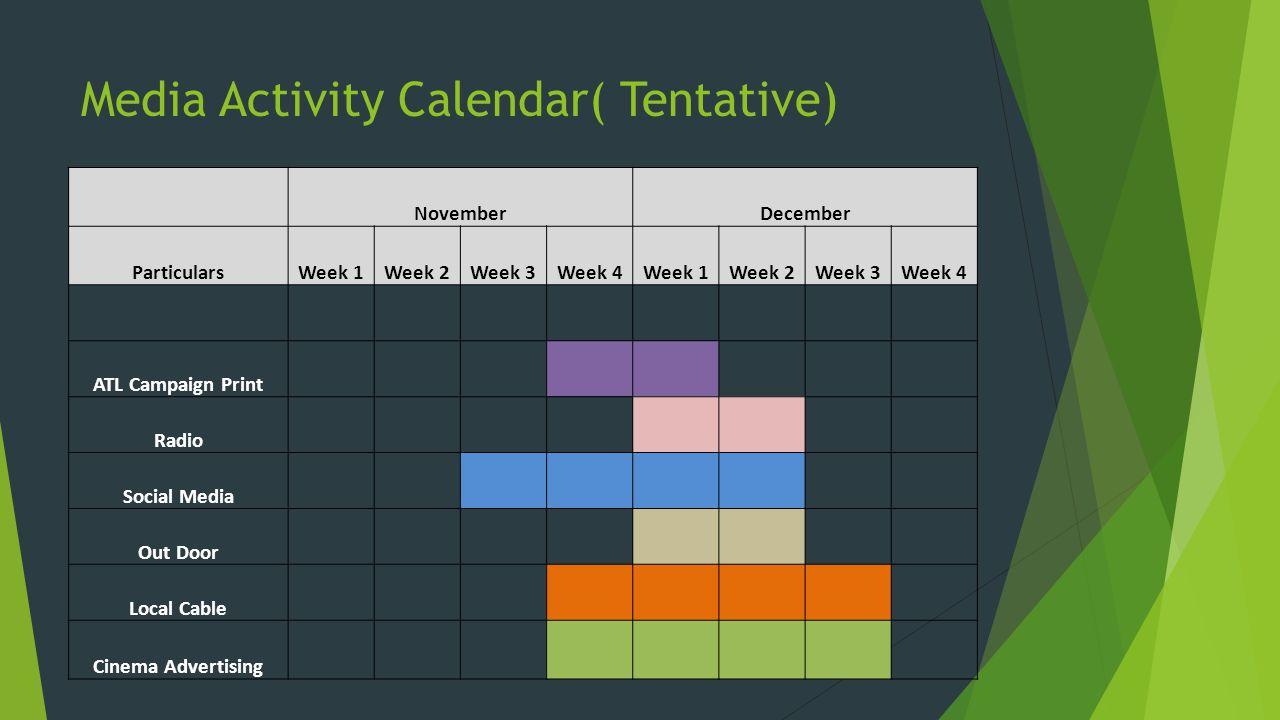 Media Activity Calendar( Tentative) NovemberDecember ParticularsWeek 1Week 2Week 3Week 4Week 1Week 2Week 3Week 4 ATL Campaign Print Radio Social Media