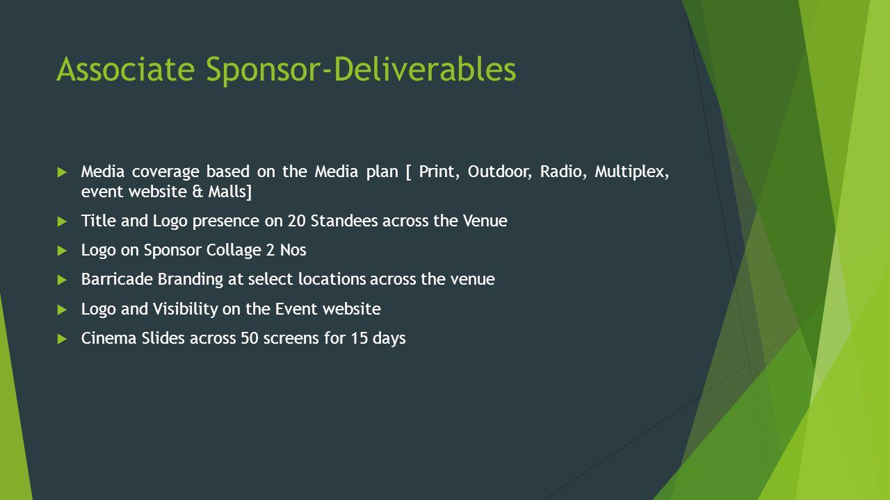 Associate Sponsor-Deliverables  Media coverage based on the Media plan [ Print, Outdoor, Radio, Multiplex, event website & Malls]  Title and Logo pr