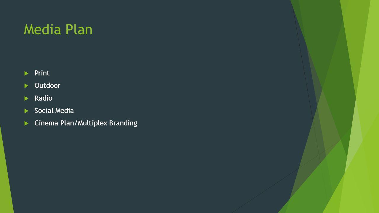 Media Plan  Print  Outdoor  Radio  Social Media  Cinema Plan/Multiplex Branding