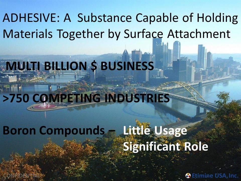 CONFIDENTIAL ADHESIVE: A Substance Capable of Holding Materials Together by Surface Attachment MULTI BILLION $ BUSINESS >750 COMPETING INDUSTRIES Boro