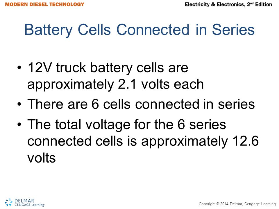 Copyright © 2014 Delmar, Cengage Learning Battery Cells Connected in Series 12V truck battery cells are approximately 2.1 volts each There are 6 cells connected in series The total voltage for the 6 series connected cells is approximately 12.6 volts