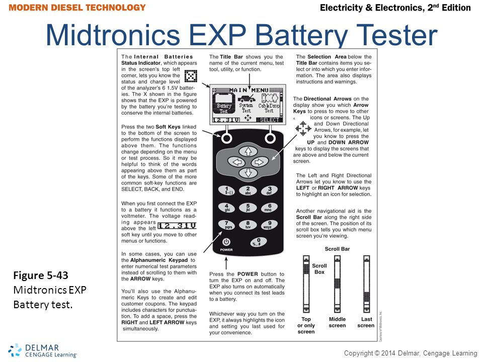 Copyright © 2014 Delmar, Cengage Learning Midtronics EXP Battery Tester Figure 5-43 Midtronics EXP Battery test.