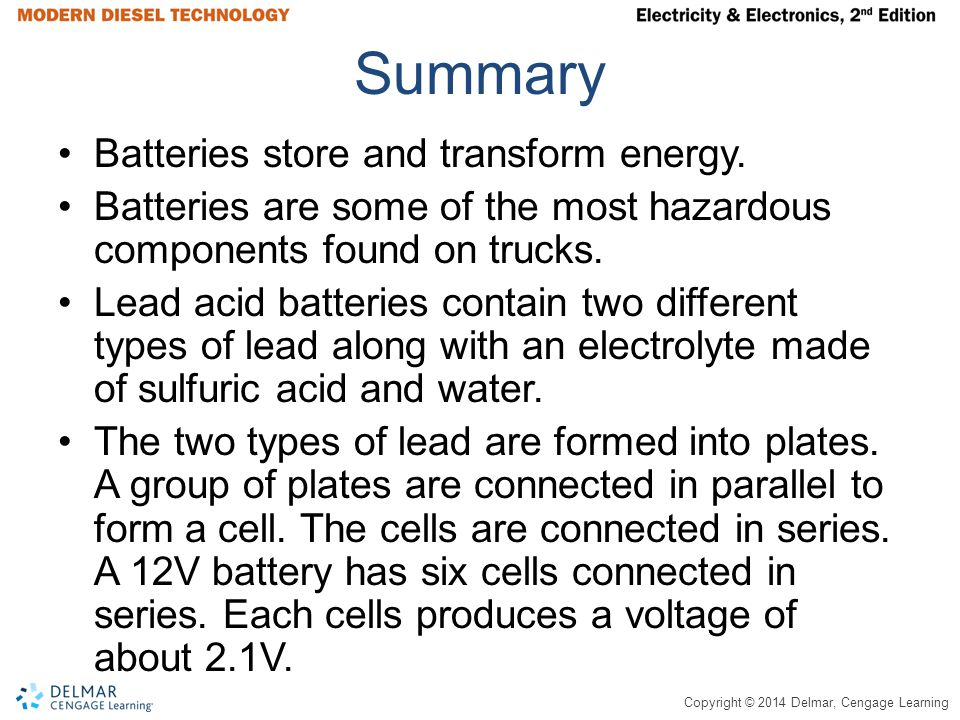 Copyright © 2014 Delmar, Cengage Learning Summary Batteries store and transform energy.