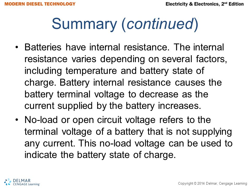 Copyright © 2014 Delmar, Cengage Learning Summary (continued) Batteries have internal resistance.