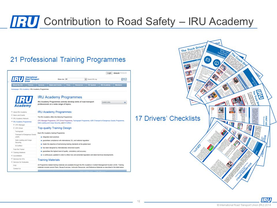 18 Contribution to Road Safety – IRU Academy 21 Professional Training Programmes 17 Drivers' Checklists