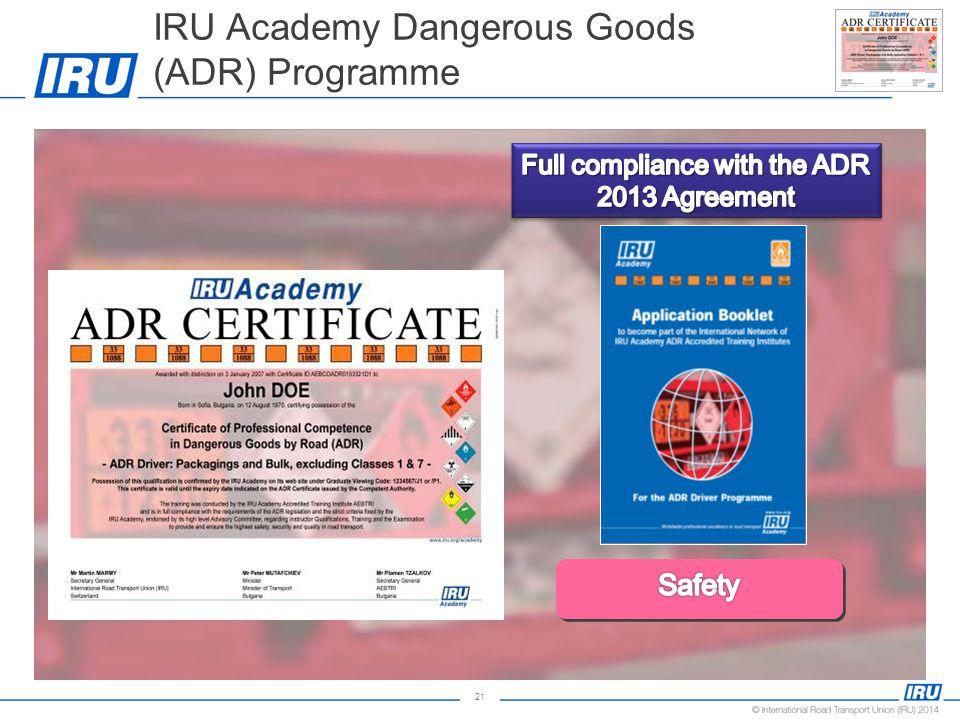 21 IRU Academy Dangerous Goods (ADR) Programme