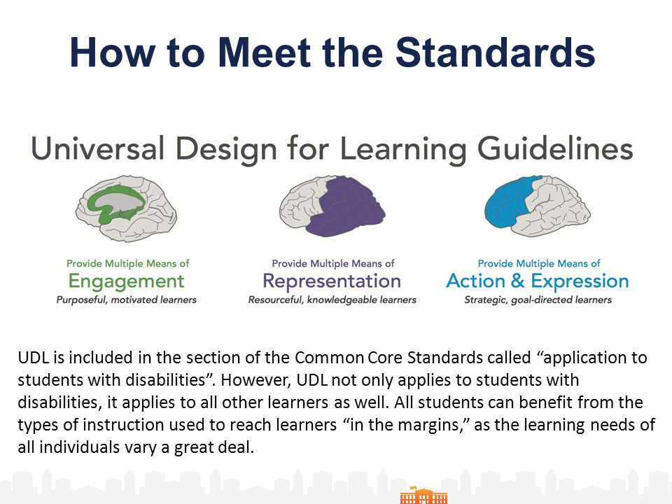How to Meet the Standards UDL is included in the section of the Common Core Standards called application to students with disabilities .