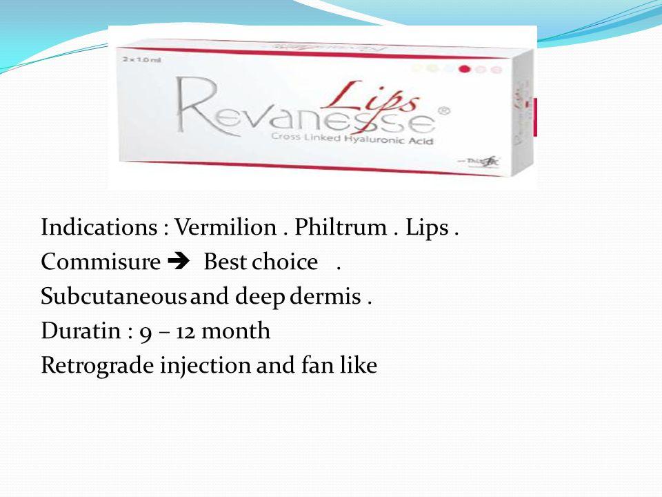 Indications : Vermilion.Philtrum. Lips. Commisure  Best choice.