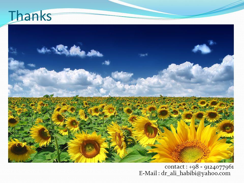 Thanks contact : +98 - 9124077961 E-Mail : dr_ali_habibi@yahoo.com