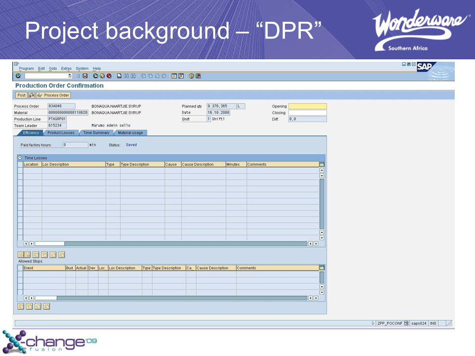 Project background – DPR