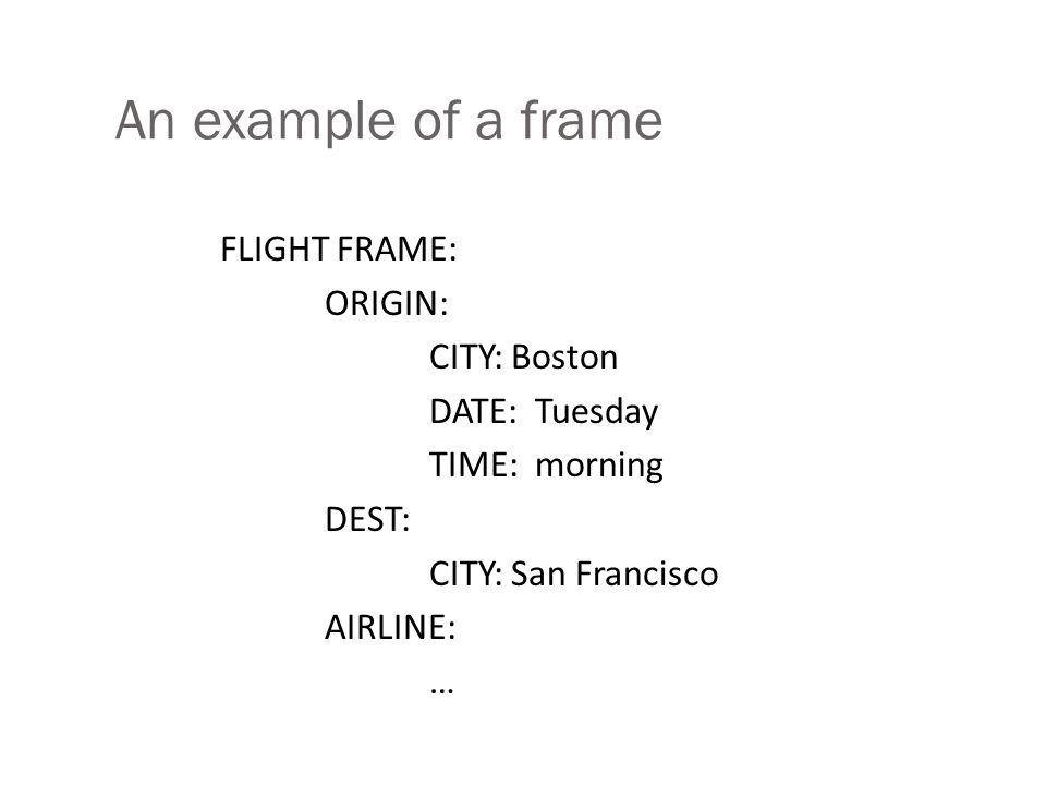 An example of a frame FLIGHT FRAME: ORIGIN: CITY: Boston DATE: Tuesday TIME: morning DEST: CITY: San Francisco AIRLINE: …