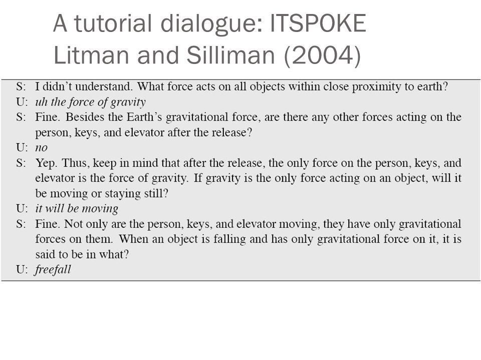 A tutorial dialogue: ITSPOKE Litman and Silliman (2004)