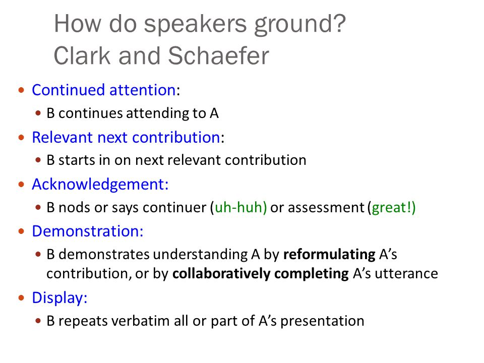 How do speakers ground? Clark and Schaefer Continued attention: B continues attending to A Relevant next contribution: B starts in on next relevant co