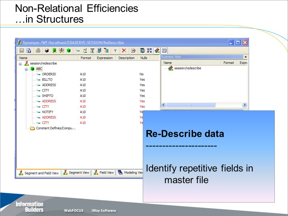 Non-Relational Efficiencies …in Structures &TEST = 128.9 Re-Describe data ---------------------- Identify repetitive fields in master file