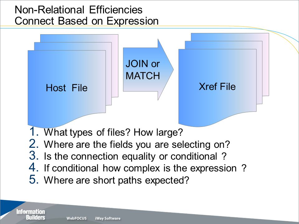 Copyright 2007, Information Builders. Slide 34 Non-Relational Efficiencies Connect Based on Expression 1. What types of files? How large? 2. Where are