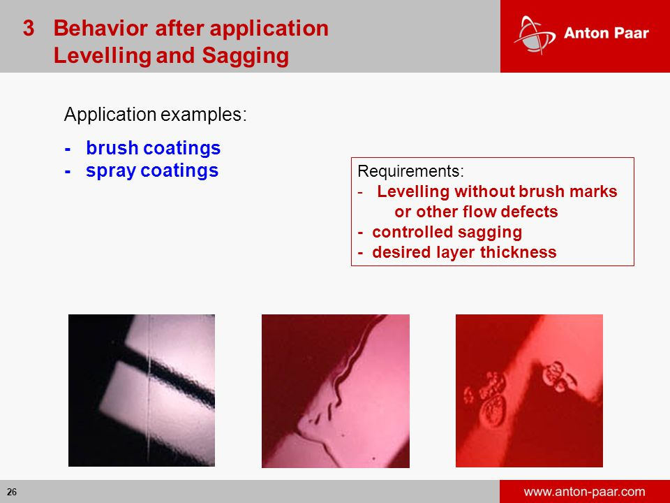 26 Application examples: - brush coatings - spray coatings Requirements: - Levelling without brush marks or other flow defects - controlled sagging - desired layer thickness 3 Behavior after application Levelling and Sagging