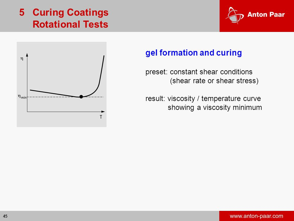 45 gel formation and curing preset: constant shear conditions (shear rate or shear stress) result: viscosity / temperature curve showing a viscosity minimum 5 Curing Coatings Rotational Tests