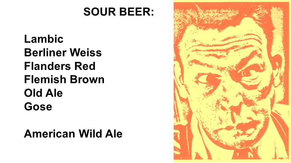 SOUR BEER: Lambic Berliner Weiss Flanders Red Flemish Brown Old Ale Gose American Wild Ale