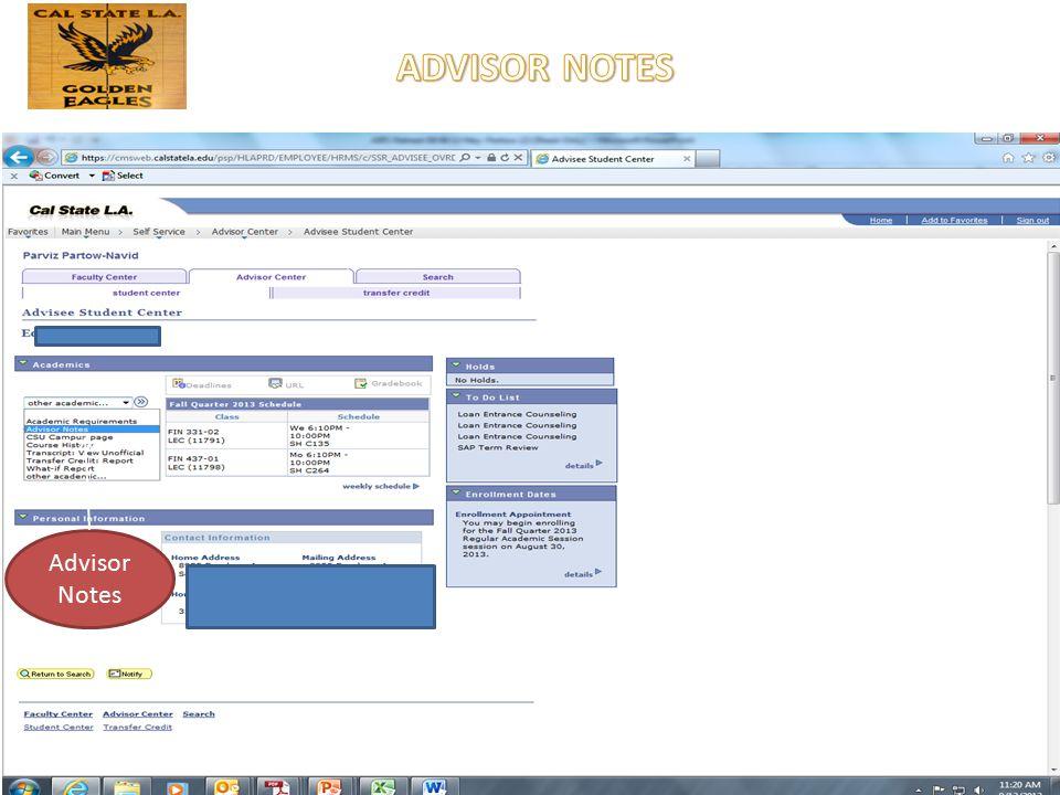 Advisor Notes