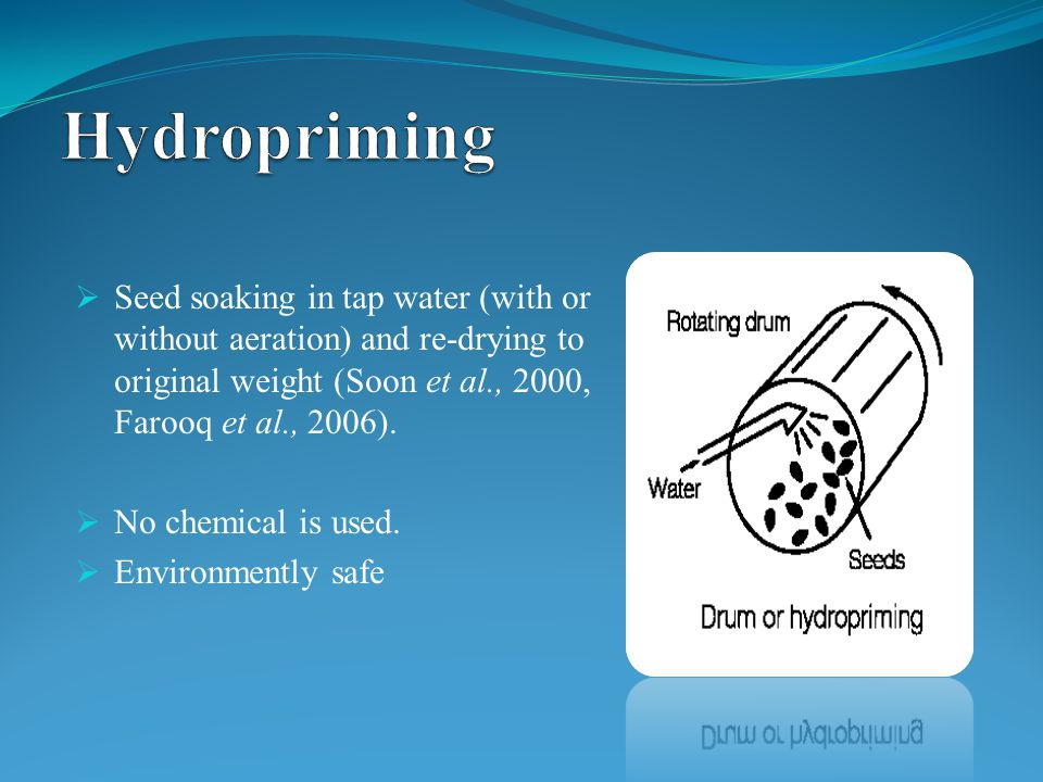  Seed soaking in tap water (with or without aeration) and re-drying to original weight (Soon et al., 2000, Farooq et al., 2006).  No chemical is use
