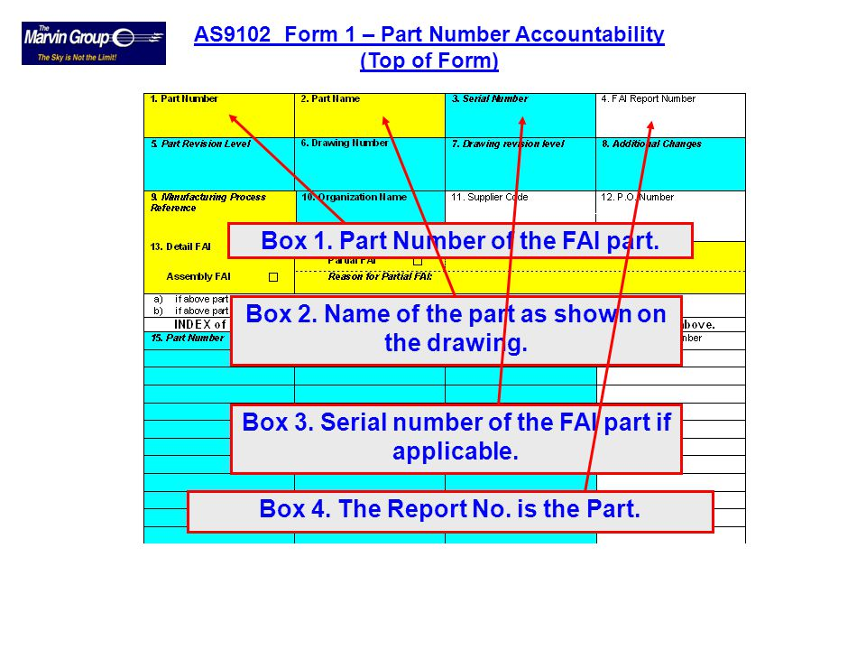 WHITE fields – OPTIONAL information required. AS9102 Form 1 – Part Number Accountability