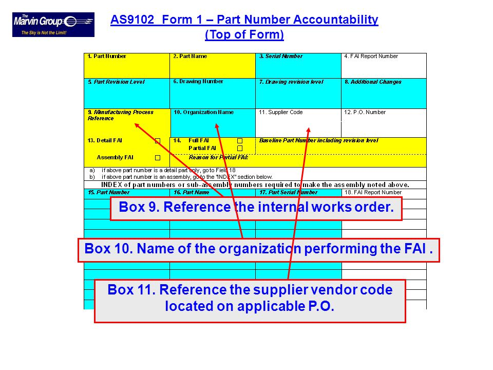 Box 6. The drawing number associated with the First Article Inspection part. Box 7. Reference the issue status of the engineering drawing. Box 5. The